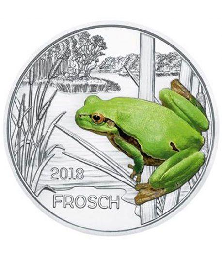moneda Austria 3 Euros 2018 Rana color Tier-Taler.  - 1