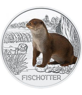 moneda Austria 3 Euros 2019 Nutria color Tier-Taler.  - 1