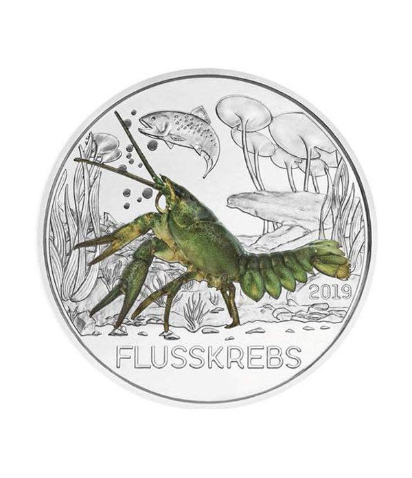 moneda Austria 3 Euros 2019 Cangrejo de Río color Tier-Taler.  - 1