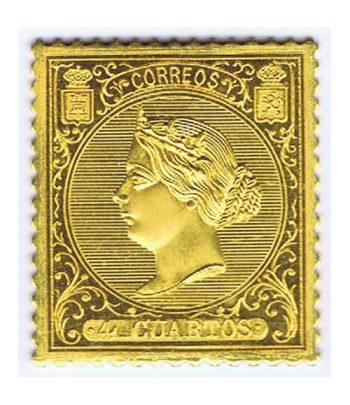 Sello oro España Nº 81. 4 cuartos Isabel II de 1866.  - 1