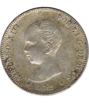 Moneda de Plata de 2 Pesetas Año 1892 *92 Alfonso XIII PG M  - 1