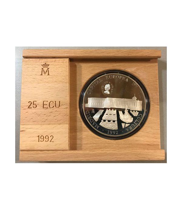Moneda de 5 onzas de plata 25 ECU Madrid Capital Europea de la Cultura 1992 Proof  - 1