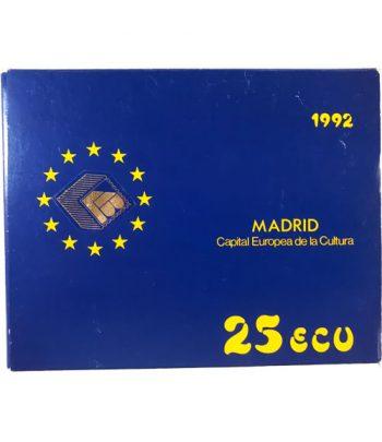 Moneda de 5 onzas de plata 25 ECU Madrid Capital Europea de la Cultura 1992 Proof  - 2