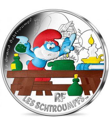 Moneda de plata de Francia año 2020 50 euros Papa Pitufo.  - 1