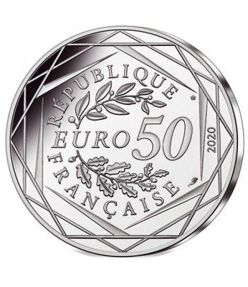 Moneda de plata de Francia año 2020 50 euros Pitufina y Bebé Pitufo.  - 2