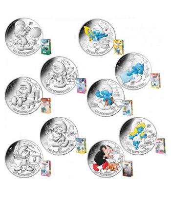Serie de 10 Monedas de plata de Francia año 2020 10€ Los Pitufos en Estuche.  - 1
