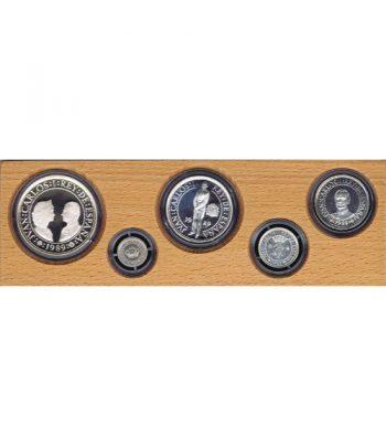 Monedas de plata del V Centenario año 1989 Serie I Estuche 5 valores.  - 1