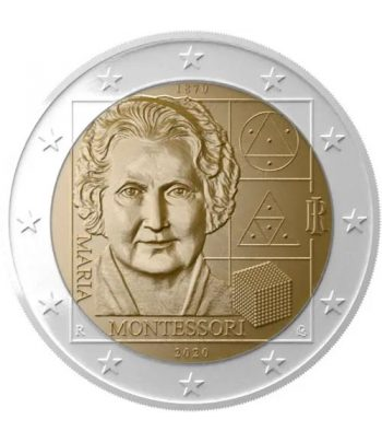 moneda de 2 euros de Italia 2020 conmemorativa Maria Montessori  - 1