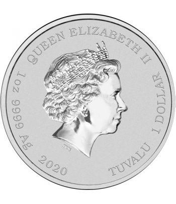 Tuvalu 1$ de plata Krusty el Payaso año 2020.  - 2