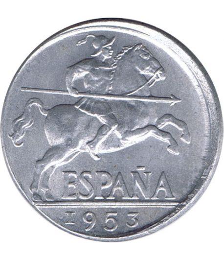 Moneda de España 10 centimos 1953 Madrid SC Desplazada  - 1