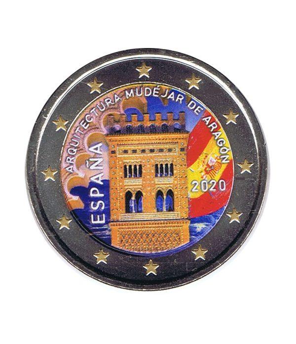 moneda 2 euros España 2020 dedicada al Arte Mudéjar de Aragón en color  - 1