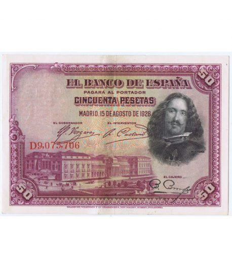 Lote de 10 Billetes de la Républica Española 50 Pesetas de 1928  - 1