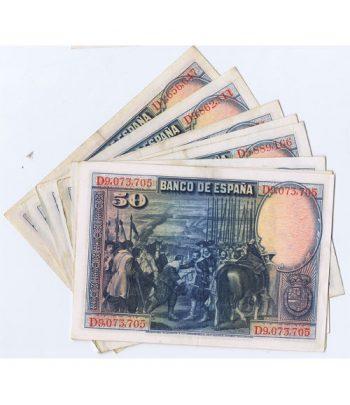 Lote de 10 Billetes de la Républica Española 50 Pesetas de 1928  - 2