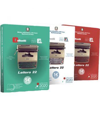 Monedas de plata de Italia 2020 5 Euros Olivetti Lettera 22. 3 monedas.  - 1