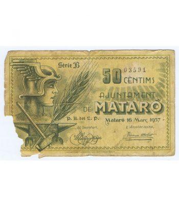 Billete 50 centims Ajuntament de Mataró 1937  - 5