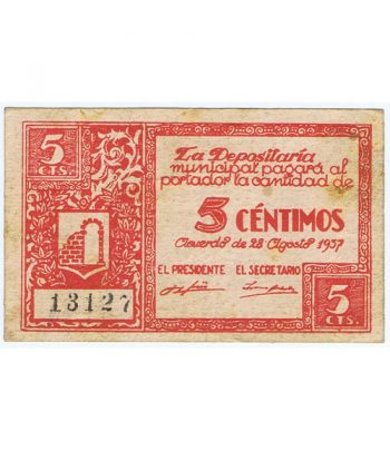 Billete 5 centimos Consejo Municipal de Graus 1937  - 1