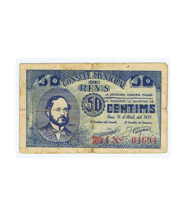 Billete 50 centims Consell Municipal de Reus 1937  - 1