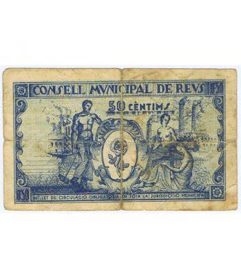 Billete 50 centims Consell Municipal de Reus 1937  - 2