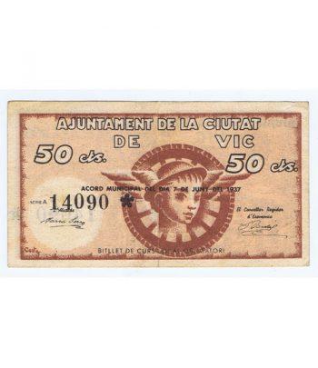 Billete 50 centims Ajuntament de la Ciutat de Vic 1937  - 1