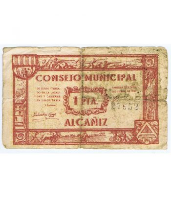 Billete 1 Peseta Consejo Municipal de Alcañiz 1937  - 1