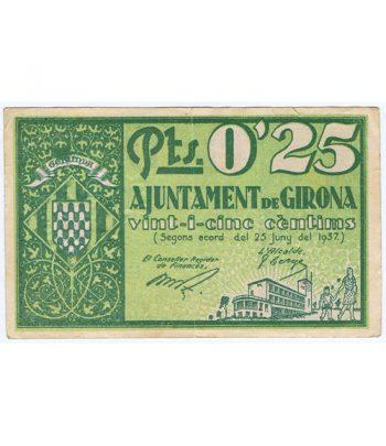 Billete 25 centims Ajuntament de Girona 1937  - 1