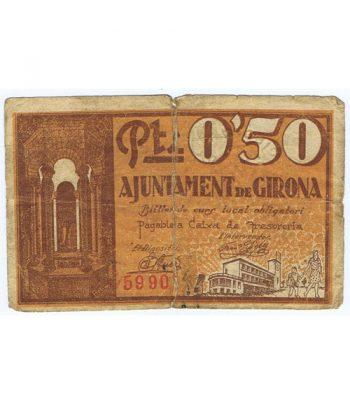 Billete 50 centims Ajuntament de Girona 1937  - 1