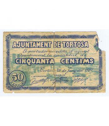 Billete 50 centims Ajuntament de Tortosa 1937  - 1