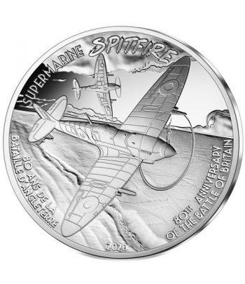 Moneda de plata de Francia año 2020 10 euros Avión Spitfire.  - 1