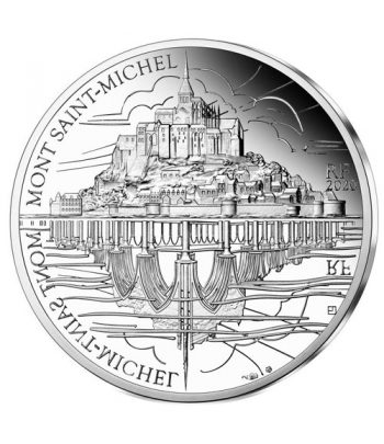 Moneda de plata de Francia año 2020 10 euros UNESCO Mont Saint-Michel  - 1