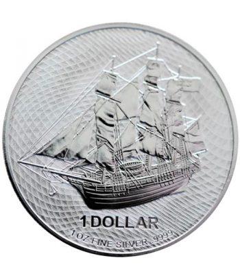 Moneda de plata Islas Cook 1$ Onza año 2020 Barco Bounty.  - 1