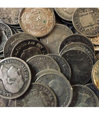 Lote de 10 Monedas de Plata de España 50 céntimos varios años  - 1