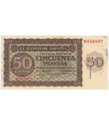 (1936/11/21) Billete 50 Pesetas Serie H624987. EBC. .  - 1