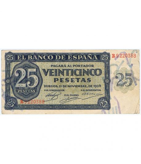 (1936/11/21) Billete Burgos 25 Pesetas serie R9220388. MBC.  - 5