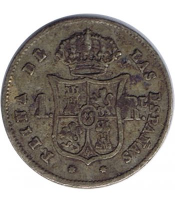 Moneda de España Isabel II 1 Real 1852 Barcelona. Plata.  - 2