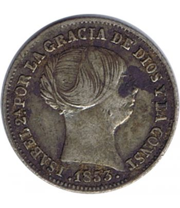 Moneda de España Isabel II 1 Real 1853 Barcelona. Plata.  - 1