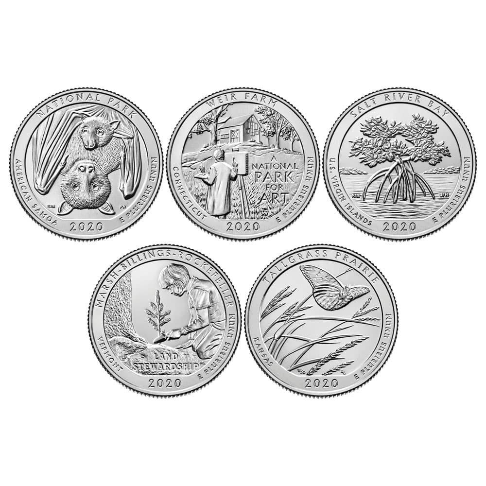 E.E.U.U. Monedas 1/4$ Quarters 2020 Parques Nacionales. 5 monedas ceca D  - 1