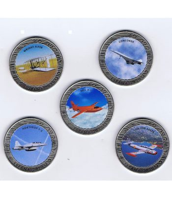 Monedas 2020 Serie Historia de la Aviación I. Estuche con 5 monedas  - 1