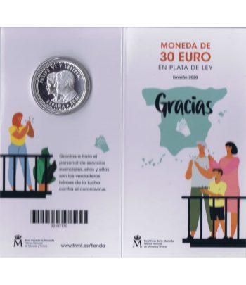 Euroset FNMT moneda 30 Euros 2020 Covid 19. Color  - 2