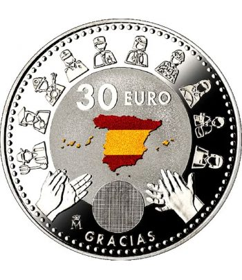 Euroset FNMT moneda 30 Euros 2020 Covid 19. Color  - 3