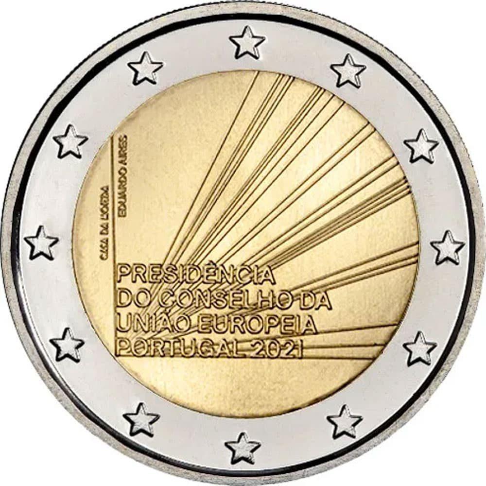 moneda 2 euros Portugal 2021 dedicada al Consejo UE.  - 3
