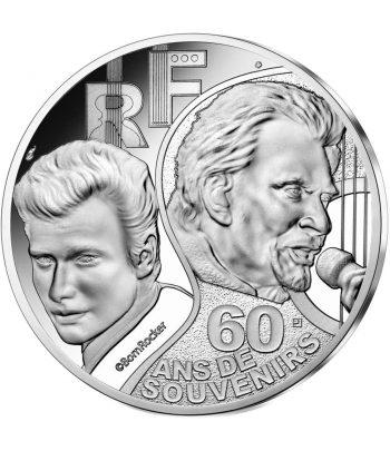 Moneda de plata de Francia año 2020 10 euros Johnny Hallyday  - 1