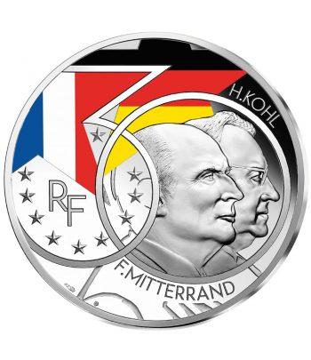Moneda de plata de Francia año 2020 10 euros Mitterrand y Helmut Kohl.  - 1