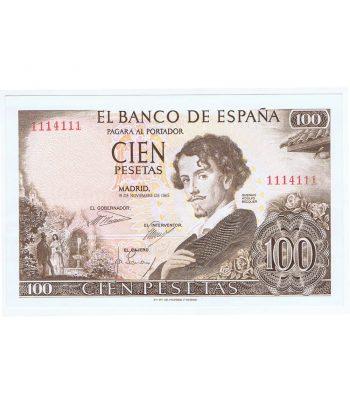 (1965/11/19) Billete de 100 Pesetas. SC. Sin Serie 1114111 Capicua.  - 5