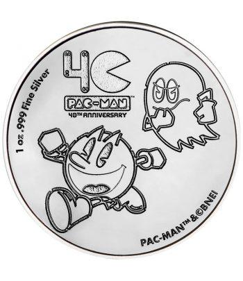 Onza de plata Moneda de Niue 2$ Pac Man Come Cocos 2020  - 1