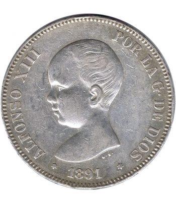 Moneda de España 5 Pesetas de Plata 1891 *91 Alfonso XIII PG M. MBC+  - 1