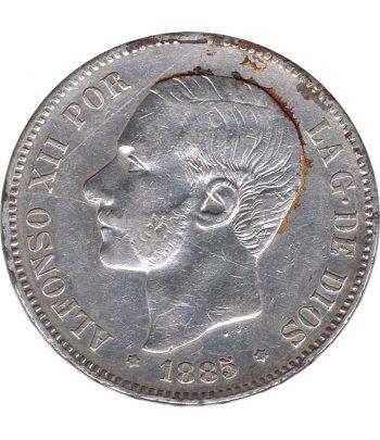 Moneda de España 5 Pesetas de Plata 1885 *87 Alfonso XII MS M.  - 1