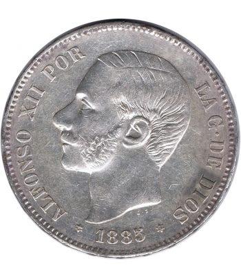 Moneda de España 5 Pesetas de Plata 1885 *87 Alfonso XII MS M. EBC-  - 1