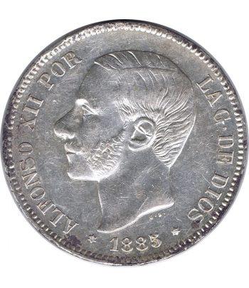 Moneda de España 5 Pesetas de Plata 1885 *87 Alfonso XII MS M. EBC  - 1