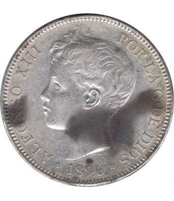 Moneda de España 5 Pesetas de Plata 1896 *96 Alfonso XIII PG V.  - 1