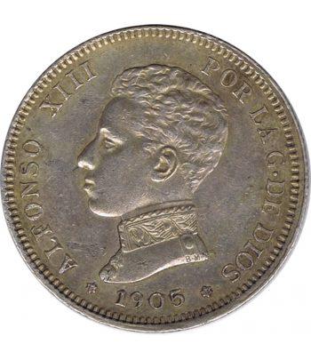 Moneda de España 2 Pesetas de Plata 1905 *05 Alfonso XIII SM V.  - 1